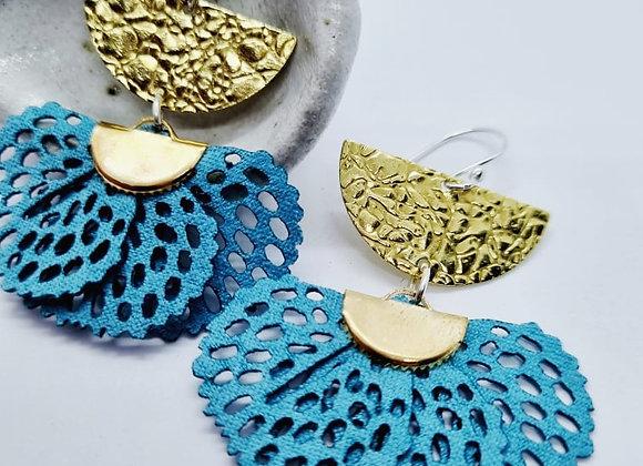 Turquoise Brass Fan