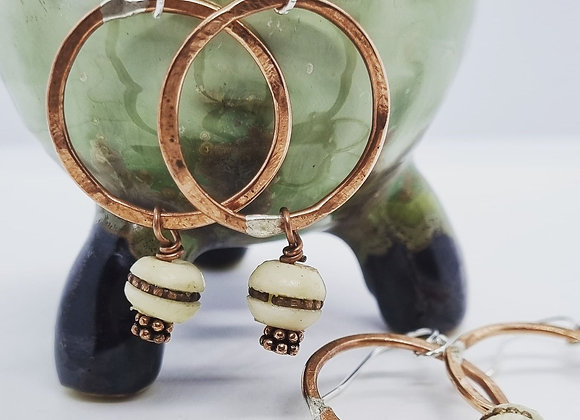 Copper hoops With Prayer Beads