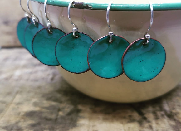 Teal Enamel Disc Drops