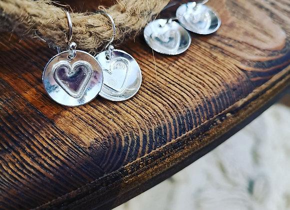 Rustic Heart Sterling Silver Earrings