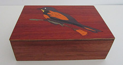 Orange/Purple  Bird Inlay Box