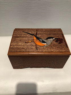 PB#326 French Marquetry Inlay White-Eared Silvia & Cherry Blossom $120