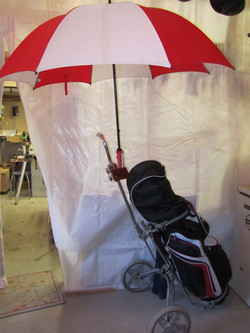 Umbrella holder on golf cart