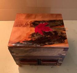 PB#433 Jewelry Box Maple Leaf Embedded Epoxied Lid $90