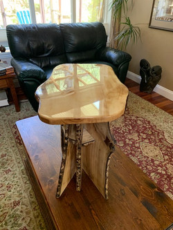 PB#435 Gifted Small Coffee Table BC Local Live Edge Walnut 8 Legs - Epoxied