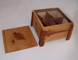 PB#211 Arbutus Tea Box with Overlay Leaf $40