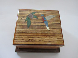 PB#306 French Marquetry Inlay HummingBird $95