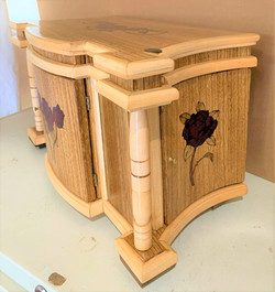 PB#408 Jewelry cabinet French Marquetry Roses $500
