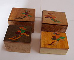 4 Flower Inlay  Boxes
