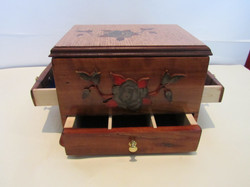 PB#285 French Marquetry Inlay Red Roses Jewelry Case $150