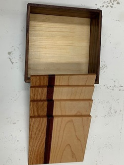 PB#337/338 Coasters set of 4 In a Box $25 Eastern maple, Jatoba, Western Oak PB#338 Coasters set of