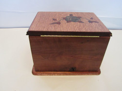 SOLD PB#285 French Marquetry Inlay Red Roses Jewelry Case $150