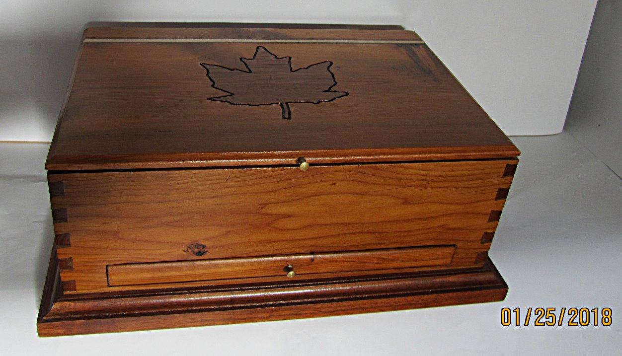 PB#64 Tea/Storage Box Maple Leaf Inlay $100