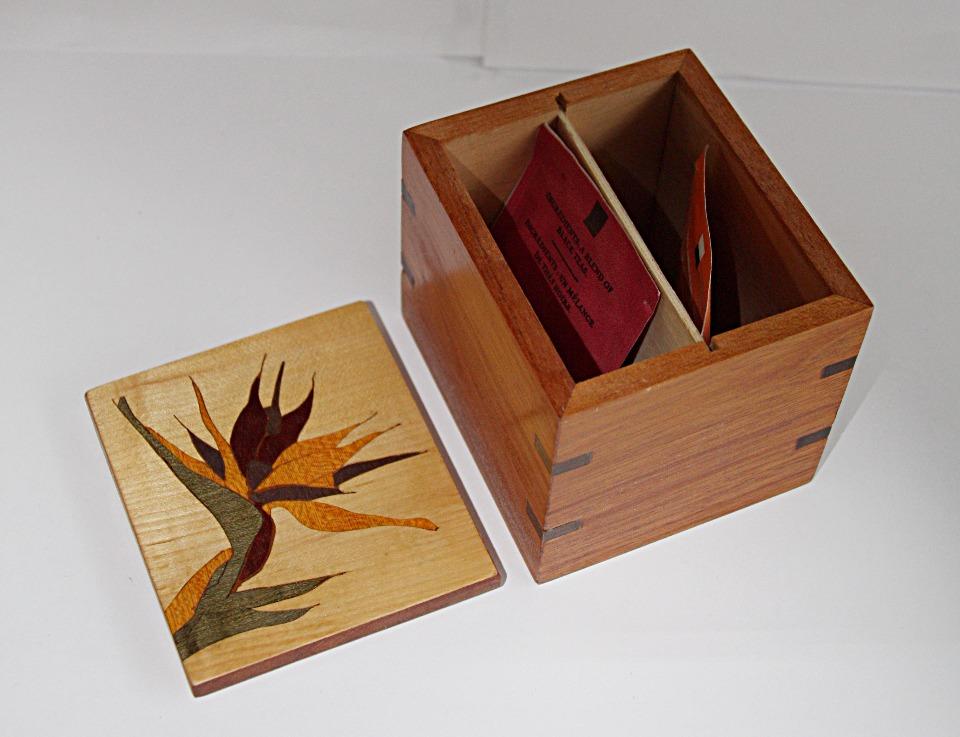 SOLD Bird of Paridise Inlay Tea Box