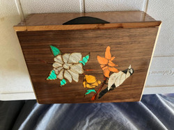 PB#320 French Marquetry Inlay White Bird 3 Flowers $90