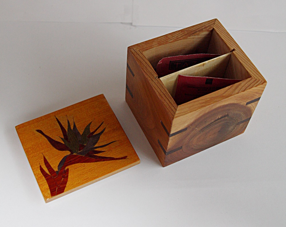PB#31a Bird of Paradise Inlay Tea Box $40