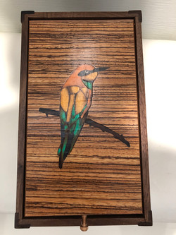 PB#324 French Marquetry Inlay European Bee Eater $120