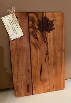 PB#371Cutting Board $35 4 Layers Maple Leaf Inlay