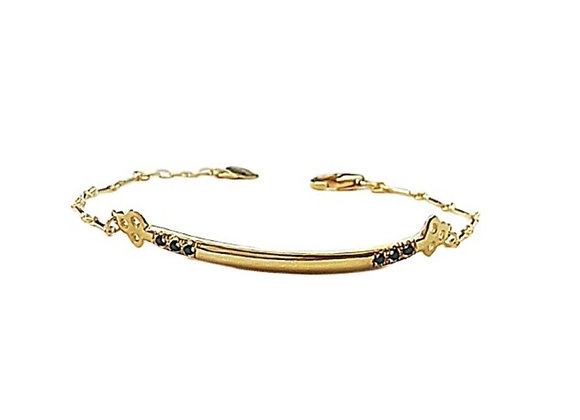 "CB001 צמיד זהב משובץ יהלומים ""תלתן"""