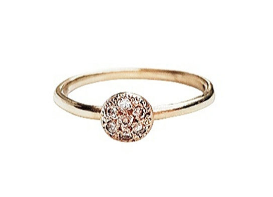 טבעת כדור זהב שטוח ומשובץ  CR007