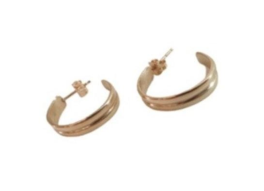 """CE002 עגילי חישוק זהב """"טבעת כפולה"""""""