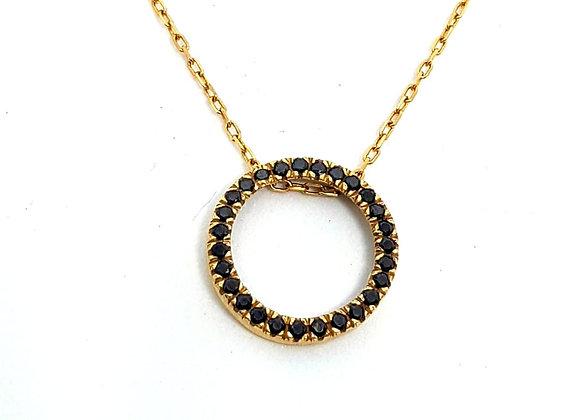 תליון חישוק זהב משובץ יהלומים   CN002-B