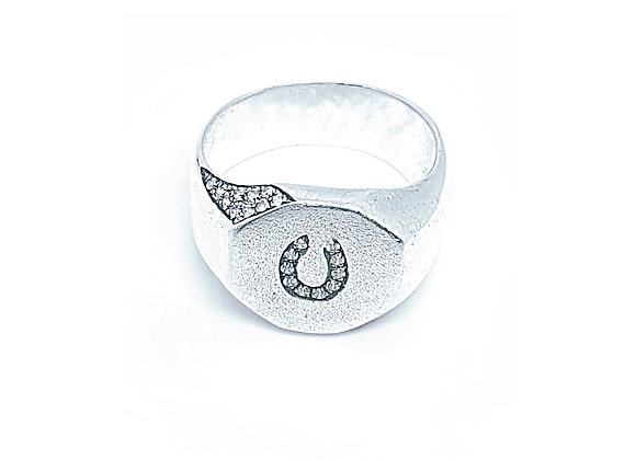 טבעת חותם כסף מתומן ומשובץ  CR009