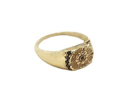 "CR003 טבעת חותם זהב ""פרח"""