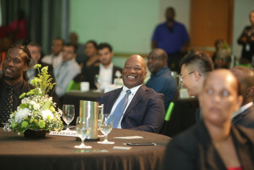 A light moment – Parliamentary Secretary in the Ministry of Public Utilities and Member of Parliament for Morvant/Laventille East, Adrian Leonce, and TSTT's CEO, Dr. Ronald Walcott, crack a smile at the launch event.
