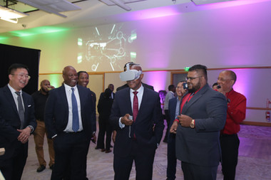 Minister of Public Utilities, Senator Robert Le Hunte, is transported to a whole new world courtesy 5G and VR technology.