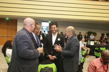 Oliver Sabga, CEO of Term Finance (Holdings) T&T shares a moment with T&T Chamber's President Reyaz Ahamad and CEO Gabriel Faria after the official launch of 5G in T&T