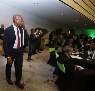 Minister of Public Utilities, Senator Robert Le Hunte, enters the Hyatt Regency's ballroom for the launch of the first 5G network in Trinidad and Tobago.
