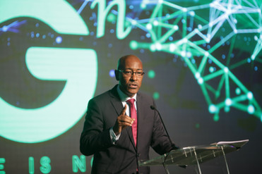 Minister of Public Utilities, Senator Robert Le Hunte, delivers the feature address at the launch of 5G in T&T. On December 4, bmobile became the first operator in the English speaking Caribbean to launch a 5G network.