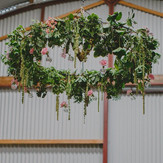 Our floral chandelier #barnwedding #stab