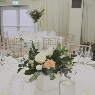 High and low table flowers fill the room