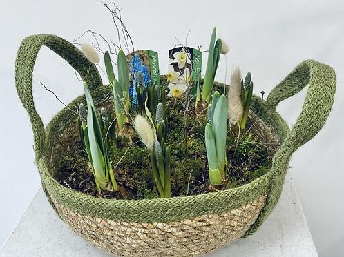 Woven basket spring planter