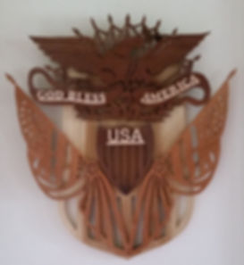 Custom Scroll Art by Joshua Lacey. God Bless America made from maple, walnut, red oak, and aspen.