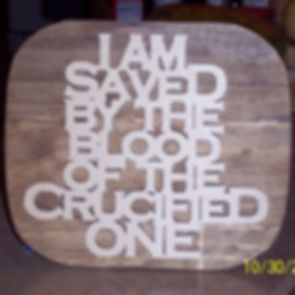 Custom Scroll Art by Joshua Lacey. Wall plaque made with oak plywood.