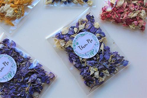 Biodegradable Confetti Clear Cello Bag Violet Cream Delphinium Mix