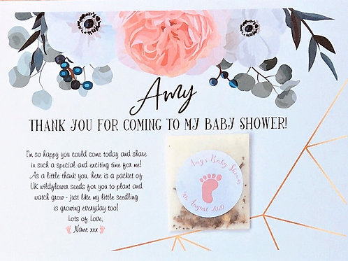 Baby Shower Wildflower Seed Postcard inc Seeds and Envelope