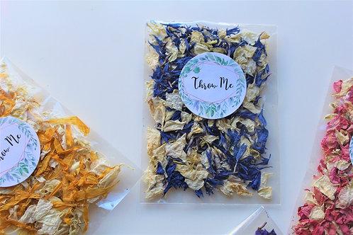 Biodegradable Confetti Clear Cello Bag Blue Ivory Delphinium Mix
