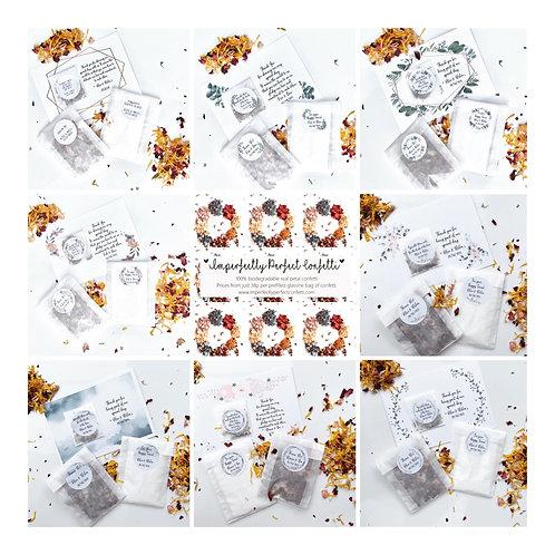 5 Guest Wedding Bundle confetti bag, seed favour & Happy Tears Tissue