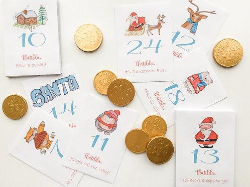 Personalised Advent Calendar - 24 Envelopes in Cute Vintage Christmas Designs