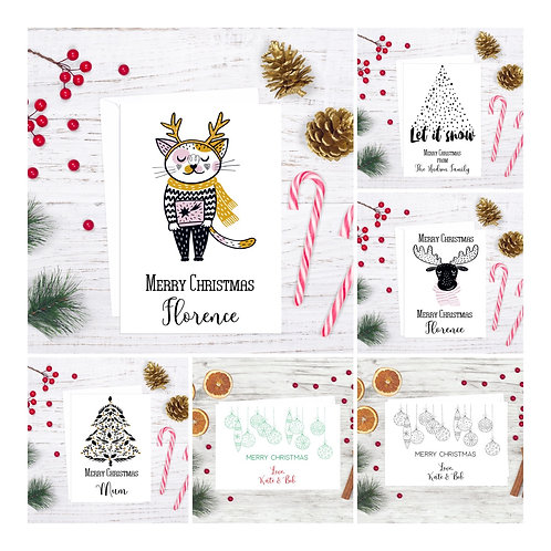 Personalised Christmas Cards pack of 10