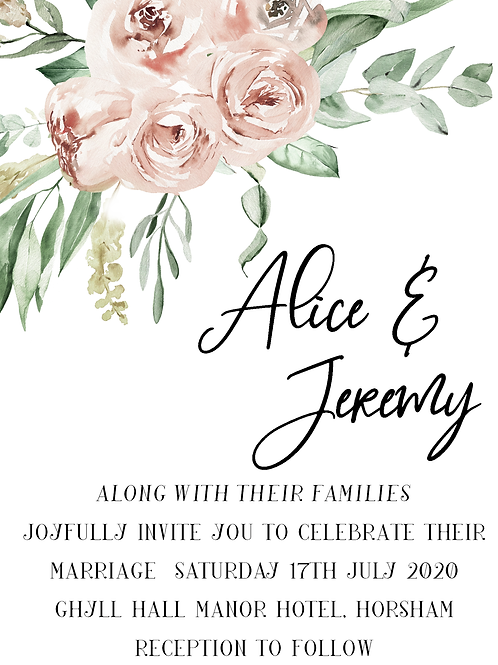 Wedding Invitation Dusky Rose Design A5 or A6