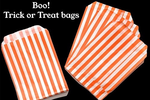 35 orange striped Halloween Trick or Treat Bags with 35 Stickers