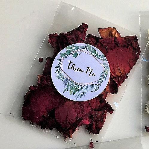 Biodegradable Confetti Clear Cello Bag Raspberry Velvet Rose Mix