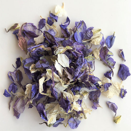 Violet Cream Delphinium Petal Confetti - 1 Litre