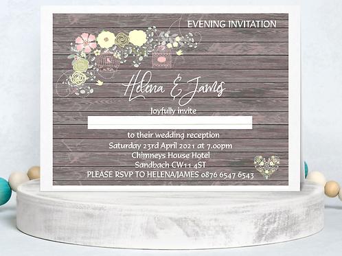 Wedding Invitation Pretty Rustic Design A5 or A6