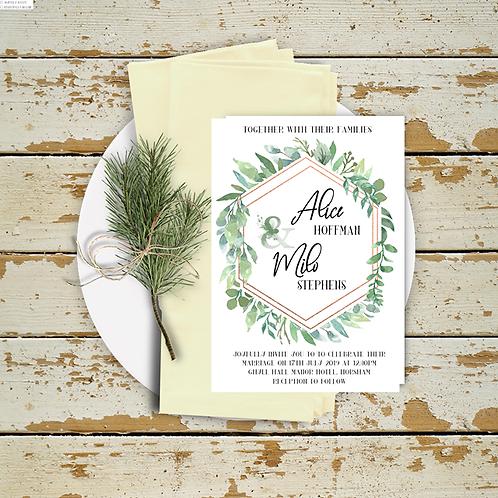 Wedding Invitation Rose Gold Foliage Frame A5 or A6
